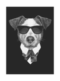 Portrait of Jack Russell Dog in Suit Hand Drawn Illustration