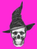 Scull with Witch Hat Halloween Illustration