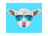 Portrait of Lamb with Mirror Sunglasses Hand Drawn Illustration