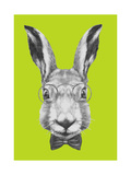 Original Drawing of Rabbit with Glasses and Bow Tie Isolated on Colored Background