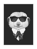 Portrait of Mongoose in Suit Hand Drawn Illustration