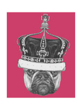 Original Drawing of French Bulldog with Crown. Isolated on Colored Background Giclée premium par Victoria_novak