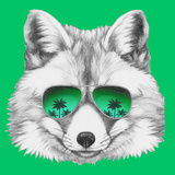 Original Drawing of Fox with Mirror Glasses Isolated on Colored Background