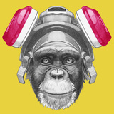 Portrait of Monkey with Gas Mask Hand Drawn Illustration