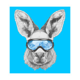 Portrait of Kangaroo with Ski Goggles Hand Drawn Illustration