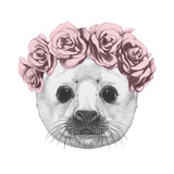 Portrait of Baby Fur Seal with Floral Head Wreath Hand Drawn Illustration