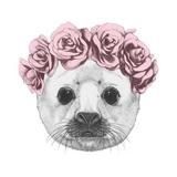 Portrait of Baby Fur Seal with Floral Head Wreath. Hand Drawn Illustration. Reproduction d'art par Victoria_novak