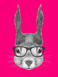 Portrait of Squirrel with Glasses Hand Drawn Illustration