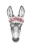 Portrait of Donkey with Floral Head Wreath Hand Drawn Illustration