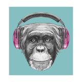 Portrait of Monkey with Headphones. Hand Drawn Illustration. Reproduction d'art par Victoria_novak