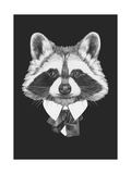 Portrait of Raccoon in Suit Hand Drawn Illustration