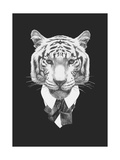 Portrait of Tiger in Suit Hand Drawn Illustration