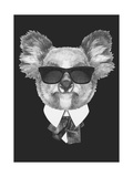 Portrait of Koala Bear in Suit Hand Drawn Illustration