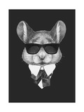 Portrait of Mouse in Suit Hand Drawn Illustration