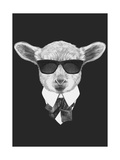 Portrait of Lamb in Suit Hand Drawn Illustration