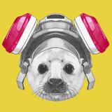 Portrait of Baby Fur Seal with Gas Mask. Hand Drawn Illustration. Reproduction d'art par Victoria_novak
