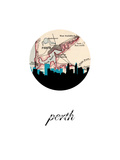 Perth Map Skyline Reproduction d'art