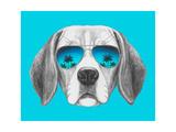 Portrait of Beagle Dog with Mirror Sunglasses Hand Drawn Illustration