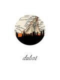 Dubai Map Skyline Reproduction d'art