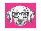 Portrait of Dalmatian Dog with Glasses Hand Drawn Illustration