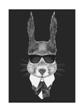 Portrait of Squirrel in Suit Hand Drawn Illustration