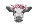 Portrait of Cow with Floral Head Wreath Hand Drawn Illustration