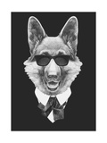 Portrait of German Shepherd in Suit Hand Drawn Illustration