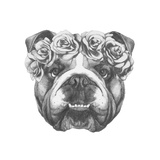 Original Drawing of English Bulldog with Floral Head Wreath. Isolated on White Background. Giclée premium par Victoria_novak
