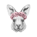 Portrait of Kangaroo with Floral Head Wreath Hand Drawn Illustration