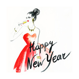 Woman with Glass of Champagne Christmas and New Year Holiday Celebration Watercolor Illustration