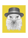Portrait of Eagle with Hat and Glasses Hand Drawn Illustration