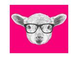 Portrait of Lamb with Glasses. Hand Drawn Illustration. Reproduction d'art par Victoria_novak
