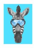 Portrait of Zebra with Ski Goggles Hand Drawn Illustration