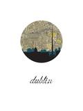 Dublin Map Skyline Reproduction d'art par PaperFinch