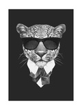 Portrait of Leopard in Suit Hand Drawn Illustration