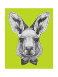 Portrait of Kangaroo with Glasses and Bow Tie Hand Drawn Illustration