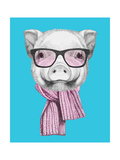 Portrait of Piggy with Glasses and Scarf Hand Drawn Illustration