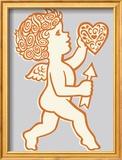Cupid Holding Heart and Arrow