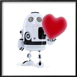 Cute Robot Holding A Big Red Heart Isolated