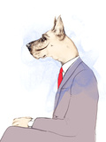 Business Dog  Fashion Animal Watercolor Illustration
