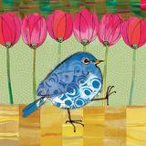 Blue Bird - Tulips Reproduction d'art par Robbin Rawlings