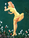 Boughed Beauty Pin-Up Picking Tulips c1940s