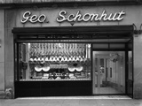 Window of George Schonhuts Butchers Shop  Barnsley  South Yorkshire  1955