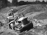 Tractor Unit Pulling an Earth Grading Machine at a Site Near Rotherham  South Yorkshire  1954