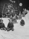 Children Dressed as Reindeer in Christmas Program at Elizabeth Morrow School