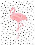 Pink Flamingo on Polka Dots