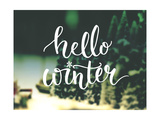 Hello Winter Typography Overlay on Blurred Photo of Christmas Trees Lettering Banner for Greeting