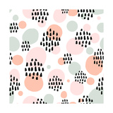 Abstract Pastel Seamless Pattern with Black Marker Strokes Light Blue and Pink Colors  Spring Summ