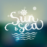 Sun and Sea Tropical Lettering on Blurred Background Vector Illustration