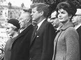 West German Chancellor Konrad Adenauer Received Full Military Honors at White House Ceremony